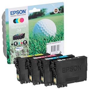 4 EPSON 34 T3466 schwarz, cyan, magenta, gelb Tintenpatronen