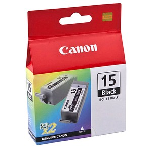 2 Canon 2x BCI-15 BK schwarz Tintenpatronen