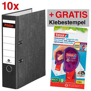 AKTION: 10 Printus Ordner schwarz marmoriert Karton 8,0 cm DIN A4 + GRATIS tesa Klebestempel ecoLogo®