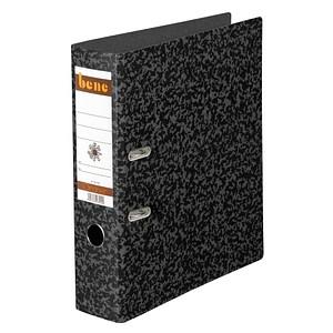 bene Hartpappe Ordner schwarz marmoriert Karton 8,0 cm DIN A4