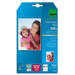 SIGEL Fotopapier IP656 10,0 x 15,0 hochglänzend 260 g/qm 72 Blatt