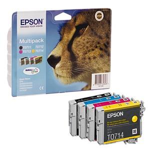 4 EPSON T0715 schwarz, cyan, magenta, gelb Tintenpatronen