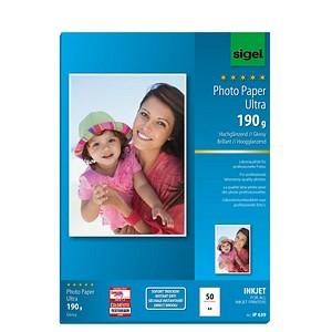 SIGEL Fotopapier IP639 DIN A4 hochglänzend 190 g/qm 50 Blatt