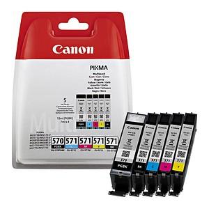 5 Canon PGI-570 PGBK CLI-571 BK C M Y 2x schwarz, cyan, magenta, gelb Tintenpatronen