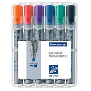 6 STAEDTLER Lumocolor Flipchart-Marker farbsortiert 2,0 - 5,0 mm