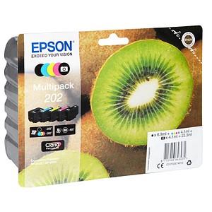 5 EPSON 202/T02E74 schwarz, Foto schwarz, cyan, magenta, gelb Tintenpatronen
