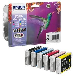 6 EPSON T0807 schwarz, cyan, magenta, gelb, light cyan, light magenta Tintenpatronen