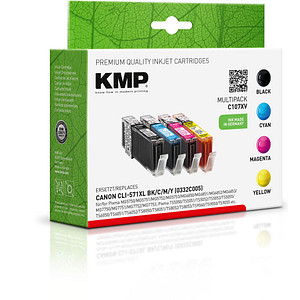 4 KMP C107XV schwarz, cyan, magenta, gelb Tintenpatronen ersetzen Canon CLI-571 XL BK/C/M/Y