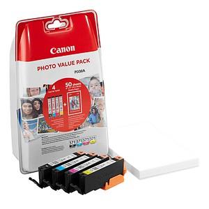 Canon CLI-571 BK/C/M/Y schwarz, cyan, magenta, gelb Tintenpatronen + 50 Blatt Fotopapier, 10 x 15 cm