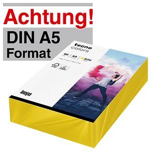 tecno Kopierpapier colors intensivgelb DIN A5 80 g/qm 500 Blatt