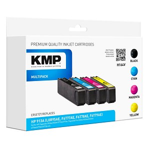 4 KMP H164V schwarz, cyan, magenta, gelb Tintenpatronen ersetzen HP 913A (L0R95AE, F6T77AE, F6T78AE, F6T79AE)