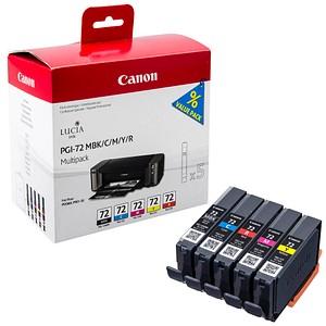 5 Canon PGI-72 MBK/C/M/Y/R mattschwarz, cyan, magenta, gelb, rot Tintenpatronen