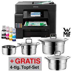 AKTION EPSON EcoTank ET-5800 4 in 1 Tintenstrahl-Multifunktionsdrucker schwarz GRATIS WMF Kochgeschirrset 4tlg.