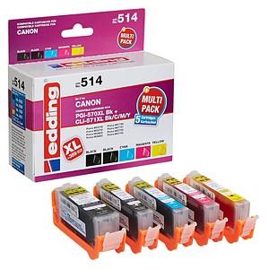 5 edding EDD-514 schwarz, cyan, magenta, gelb Tintenpatronen ersetzen Canon PGI-570XL/CLI-571XL BK/C/M/Y