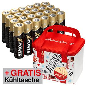 AKTION: 24 ANSMANN Batterien X-POWER Mignon AA 1,5 V + GRATIS Kühltasche Coca Cola Fresh 5