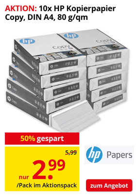 AKTION: 10x 500 Blatt HP Kopierpapier Copy 80 g/qm