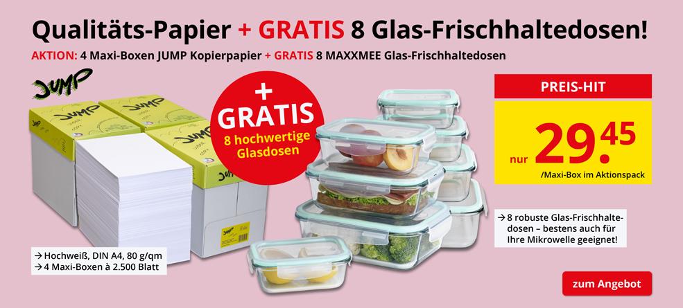 AKTION: 4x Maxi-Boxen JUMP Kopierpapier + GRATIS 8x Glas-Frischhaltedosen